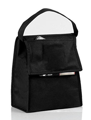 Eunichara Cooler Lunch Bag Foldable with Thermal Insulated Lining Reusable (Cooler/Warmer) - Black (Insulated Lunch Bag Black compare prices)