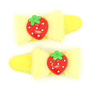 (Yellow) Baby/ Toddler /Girl Bow Shaped with Tiny Strawberry Hair Clip (4095-4)