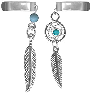 A-Set of Two Ear Cuffs-One Turquoise Dream Catcher Ear Cuff-One Feather Cartilage Cuff Earring-No Pierce