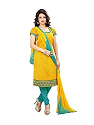 Glorious World Yellow Embroidered Dress Material