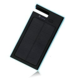 Solar Charger X-DRAGON Portable 9000mAh Solar Panel Power Bank for iPhone, iPad Air mini, iPod, Samsung, Android Smart Phones and Tablets, Gopro Camera and other 5V USB devices(Blue)