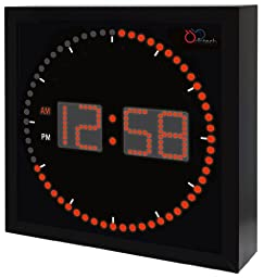 DBTech Time Sphere - Stylish Big Digital LED Clock with Circling LED second indicator - Square Shape (16\