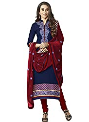 Sheknows Blue Pure Cotton Embroidered Dress Material