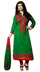 Sree Impex Women Cotton Semi Stitched Salwar Suit Dress Material (SI-SK-22_Green_Free Size)