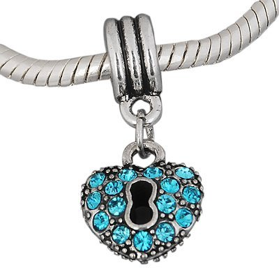 Hidden Gems (873A) - Silver Plated Dangle Heart With Blue Stones