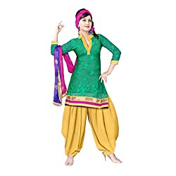 Multicolor Chanderi Unstitched Dress Set with Self Work