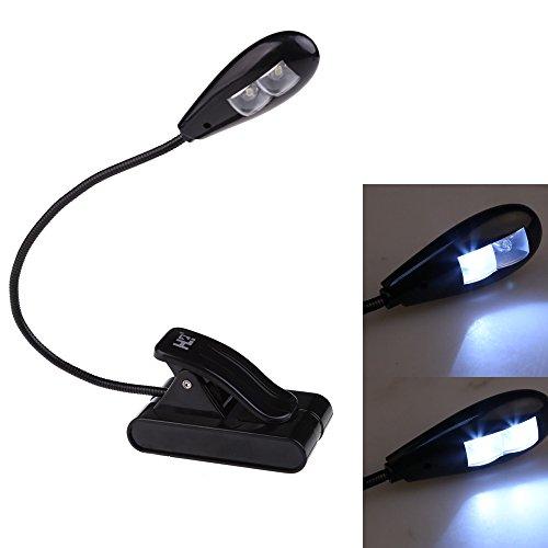 Ecoolbuy Clip-On 4-Led 2-Led Mini Reading Lamp 2-Mode White Light Adjustable Neck (2Led)