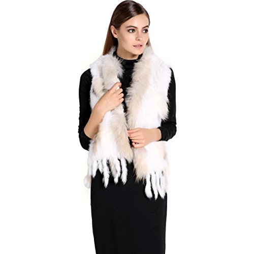 Zeagoo Women's New Fashion Winter Warm Rabbit Fur Knitted Coat Vest Gilet (X-Large, White)