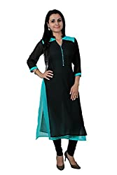Kittus Fashion House Women's Georgette Straight Kurti (Kskrt-1063_Black_Medium)