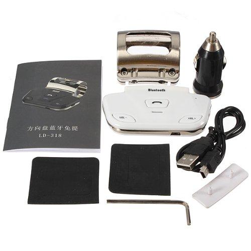 Wireless Bluetooth 3.0 Steering Wheel Handsfree Car Kit Speaker Speakerphone (White)