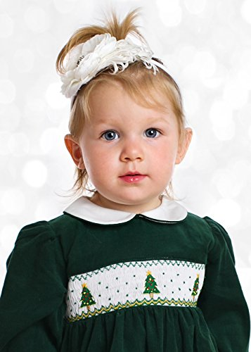 Smocked holiday dress green corduroy with christmas trees 4t girls