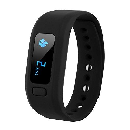 COOSA Braccialetto Fitness,Bluetooth braccialetto Smart smart band frequenza cardiaca Monitor Wristband Fitness Tracker Wristband IP67 impermeabile Bluetooth Pedometro monitoraggio sonno Monitor intelligente per Andriod IOS (nero, 493)