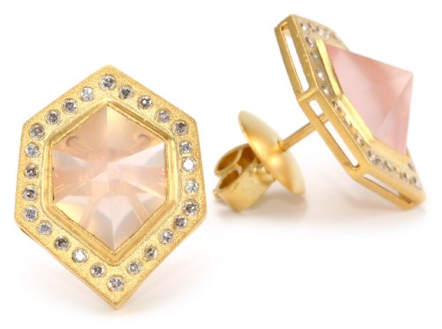 Lauren Harper Collection Sugar Buzz 18k Gold, Rose Quartz and Diamond Pyramid Post Earrings