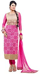 Fstore Pink Embroidered Georgette Semistitched Salwar suit