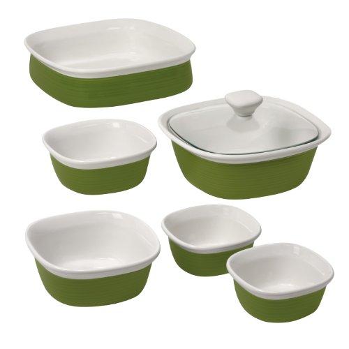 Corningware 1092938 Etch 7-Piece Bakeware Set, Grass