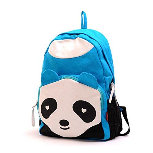 Lemonbest® Cute Panda Vintage Unisex Canvas Backpack Rucksack Satchel Shoulder Bag Blue front-581169