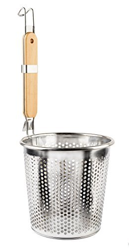 Stainless Steel Food Strainer Colander With Wooden Hook Handle - As Noodle Pasta Strainer Steaming Basket - Best For Rinsing Pasta, Noodles,Fruits,ParBoiling-Fits Most Pots,Easy To Clean - Durable Solid Steel Frame -6.3