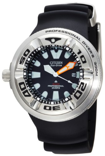 Citizen Men&#8217;s BJ8050-08E Eco-Drive Professional Diver Black Rubber Strap Watch