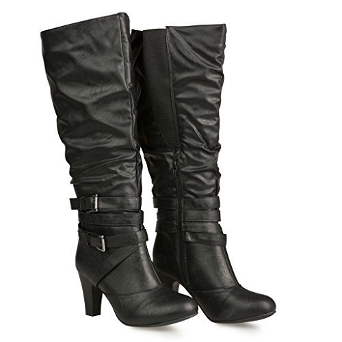 twisted s hailey faux leather wide calf knee high