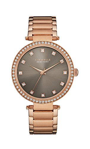 Caravelle New York T Bar Women's Quartz Watch with Grey Dial Analogue Display and Rose Gold Bracelet 44L211