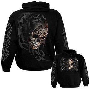 Spiral Direct Mens Tribal Shadow Sweatshirt Hood Top Black XXL 52-54