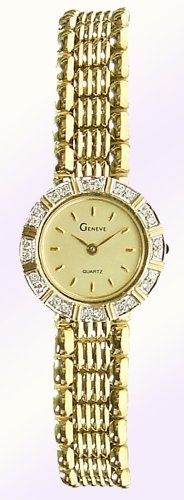 Geneve 14K Solid Gold Diamond Womens Watch - W2153