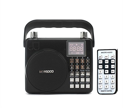 Newgood Portable Voice Amplifier With Subwoofer, adjustable reverberation, loud sound, support Audio Input, Voice recorder, FM Radio, Microphone, SD/TF Card, USB, 8watt (F33) (black)