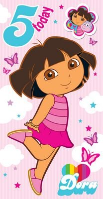 Dora The Explorer - Age 5 Birthday Card & Badge - 5th