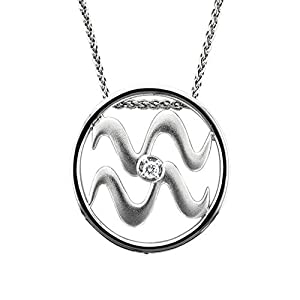 Zodiac Sign Aquarius Silver Diamond Pendant Necklace (HI, I1-I2, 0.05 carat)