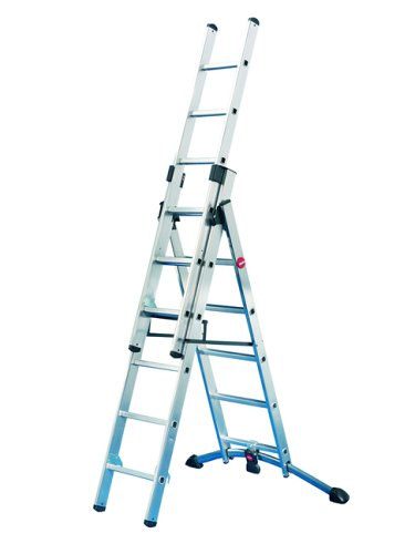 Hailo ProfiStep 150 kg Capacity Combination Ladder (2 x 6-Rung Sections plus 1 x 5-Rung Section)