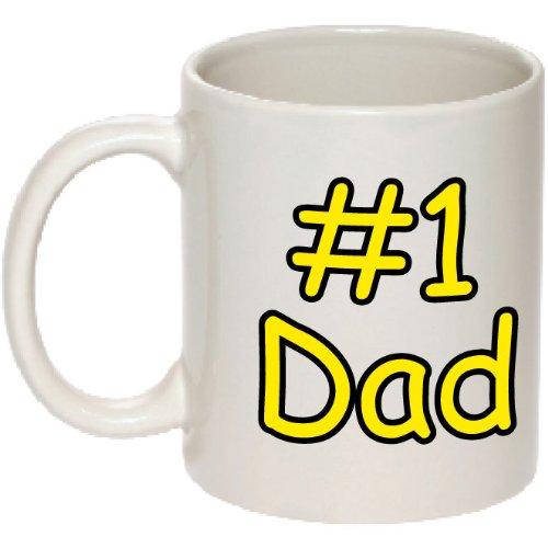 #1 Dad Mug - Number One Dad Coffee Mug - High Quality Coffee Cup - Perfect For Birthdays! - Printed In Usa! - 1 Dad Mug