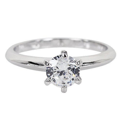 Solitaire Cubic Zirconia 1 Carat Prong Set Round Cut Engagement Ring-Size 9 By GemGem Jewelry