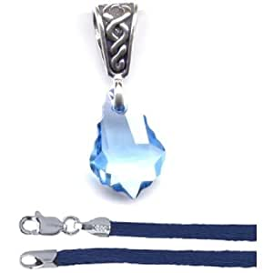 """Gift Boxed Baroque Aqua Celtic Pendant with 18"""" Blue Satin Cord Sterling Silver Swarovski Crystal Jewelry Set"""