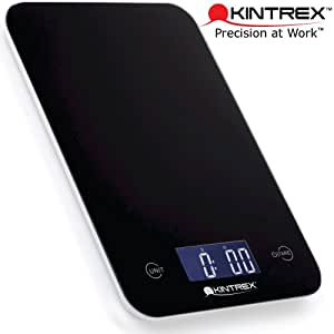 KINTREX Lithium Battery Powered SCL0625 Digital Tempered Glass Kitchen Scale - Ultra Thin