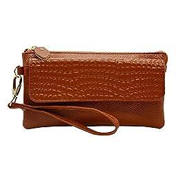 Gottowin Women\'s Leather Purse Wallet Clutch Handbag Cross-body Bag Organizer w/ Wrist Strap +Card Holder (9-Inch,fit iPhone 6 Plus, Dark Brown)
