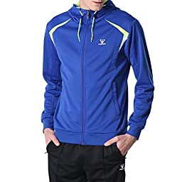 Fuerza Mens Premium Material Knit Hooded Tracksuit (Large, Blue)