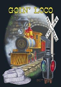 Going LoCo Locomotive Train Banner Flag Garden Large