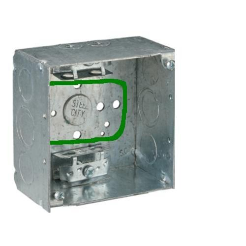 Steel City 52151Xp Pre-Galvanized Steel Square Box With C-3 Armored Cable Clamps, 1/2-Inch And 3/4-Inch Eccentric Knockouts And Pigtail
