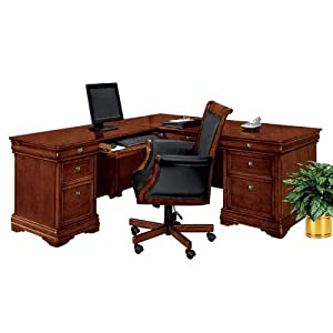 "Chocolate Patina Finish Executive Left ""L"" Desk Chocolate Patina Finish"
