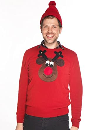 Woolly Babs Men's Christmas Jumper Rudolph Reindeer Roundneck Brown Face:XS-Red