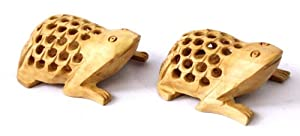 Hand Carved Wooden Tortoise Frog Have Baby's Inside Figurine Statue