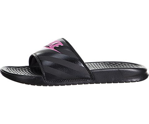 Nike Womens Benassi JDI Sandal (9, Black/Vivid Pink)