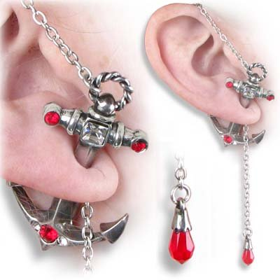 Anchors Away Ear Stud Earring by Alchemy Gothic, England