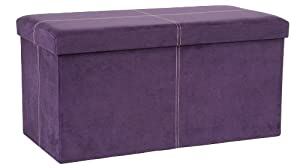 Fhe group microsuede folding storage ottoman bench 30 by 15 by 15 inches purple Purple storage bench