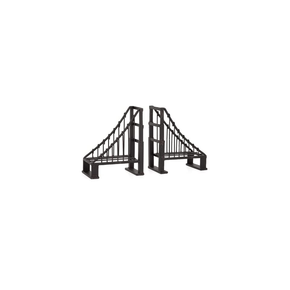 Torre & Tagus Antique Bridge Bookends, Black, Set of 2
