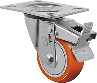 """Schioppa L12 Series, GL 312 UPE G, 3 x 1-1/4"""" Swivel Caster with Total Lock Brake, Non-Marking Polyurethane Precision Ball Bearing Wheel, 175 lbs, Plate 3-1/8 x 4-1/8"""" (Bolt Holes 3-1/8 x 2-1/4"""")"""
