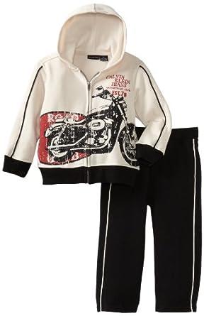 Calvin Klein Little Boys' Two Piece Fleece Jog Set, Assorted, 4T