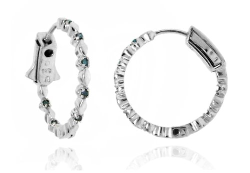 Sterling Silver 925 Genuine Blue Diamond Accents .14cts (Color H-I, Clarity I3) Round Hoop Earrings - 22mm