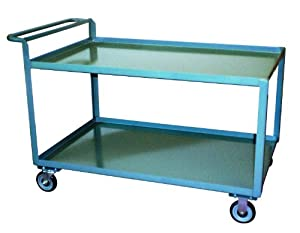 "Jamco Products SG248-U5-GP Two Shelf High-Handled Service Cart, 1200-Pound Capacity, 24"" x 48"""