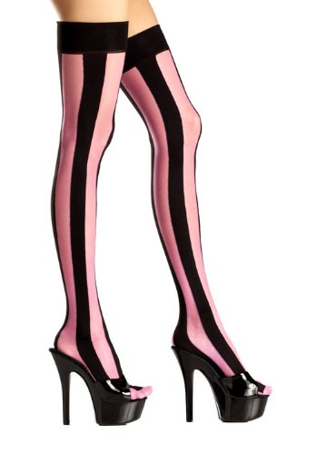 Costume Adventure Women's Pink And Black Striped Thigh High Stockings